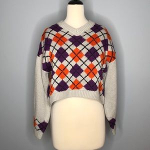Topshop cropped argyle sweater